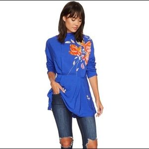 Free People- Gemma Blue Floral Tunic Top- XS